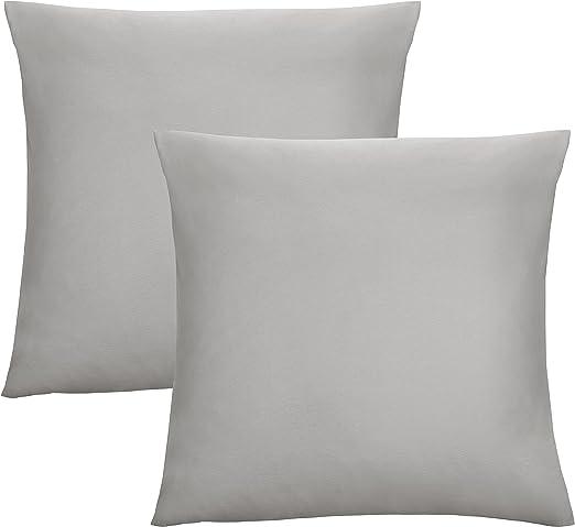 Biberna 0077144 Jersey de Fundas de Almohada de algodón 100% con Cremallera, Pack de 2, 80 x 80 cm Gris, 27 x 18 x 3 cm: Amazon.es: Hogar