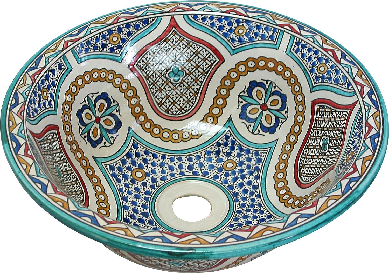 Ronde Fes // Mekn/ès peint /à la main en c/éramique marocain bassin lavabo Di 40 cam H 16 cm peints /à lint/érieur hors