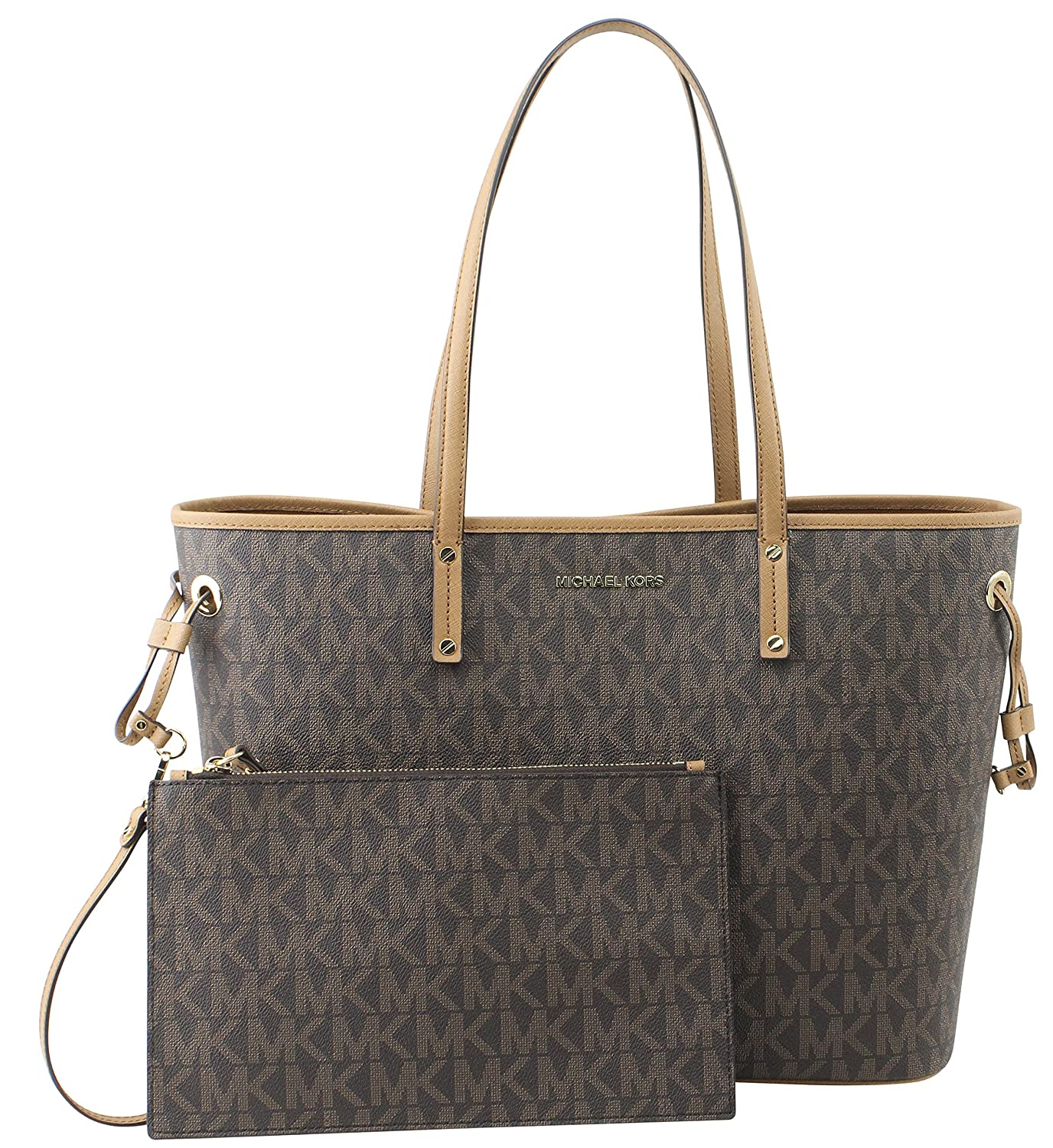 7cb9cd31dd74 Amazon.com  Michael Kors Jet Set Travel Large Drawstring Tote Signature ( Brown Acron)