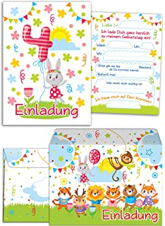 Mk Decor 12 Einladungskarten Kindergeburtstag Zum 4 Geburtstag In
