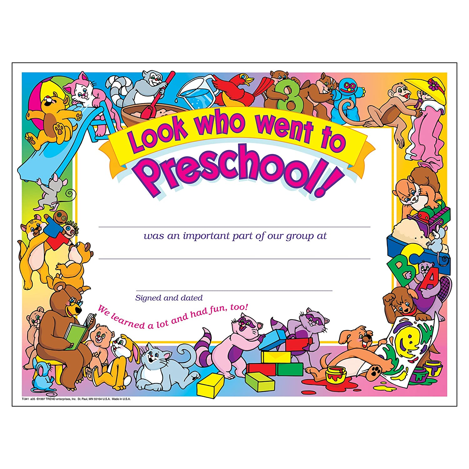 Amazon Look Who Went To Preschool Certificate 30 Pack