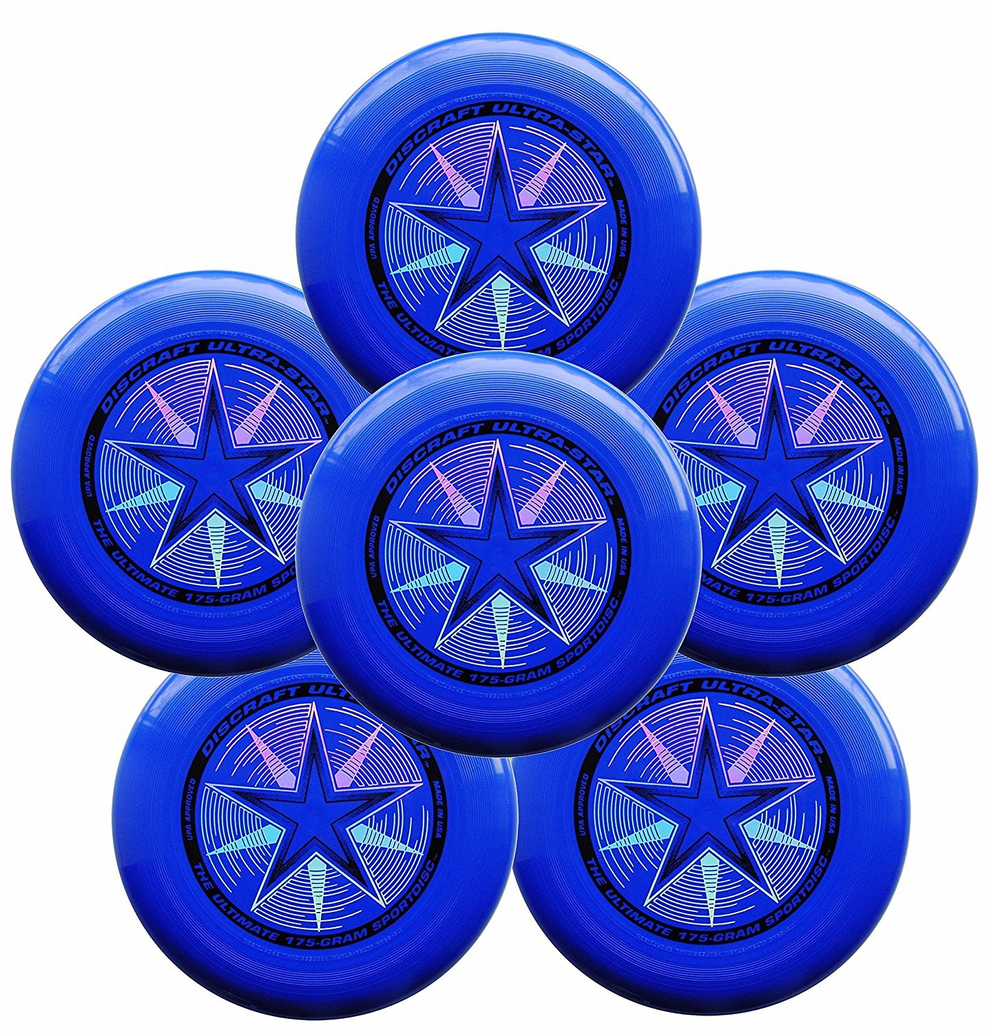 Discraft Ultra-Star 175g Ultimate Frisbee Sport Disc (6 Pack) Royal Blue by Discraft