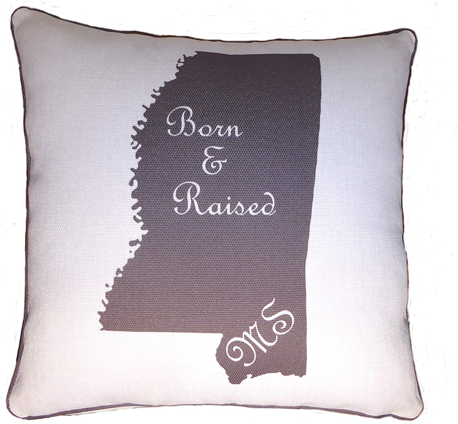 Throw Pillow Decorative Burlap Gift Cushion State Silhoutte Mississippi