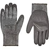 AmazonCommercial 13G HPPE Cut Resistant Liner & Polyurethane Coated Gloves (Salt & Pepper/Black), Size L, 1 Pair