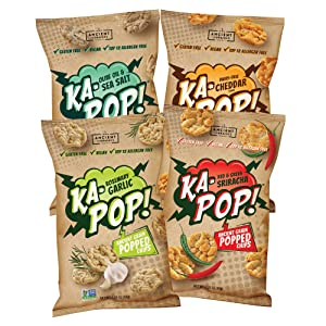 Ka-Pop! Popped Chips, Variety Pack (3.25oz, Pack of 4) - Allergen Friendly, Ancient Grains, Gluten-Free, Paleo, Non-GMO, Vegan, Healthy, Whole Grain Snacks, As Seen on Shark Tank