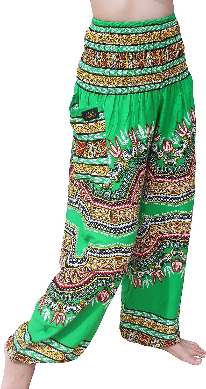 RaanPahMuang Brand Smock Waist Rayon African Dashiki Art Summer Harem Baggy Pants Medium Lime Green item737750AMZ