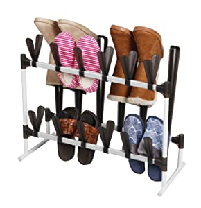 Home Basics SR49230 Organizer and Shaper Sturdy Space Saving Rack for 12 Shoes, and 3 Pairs of Boots