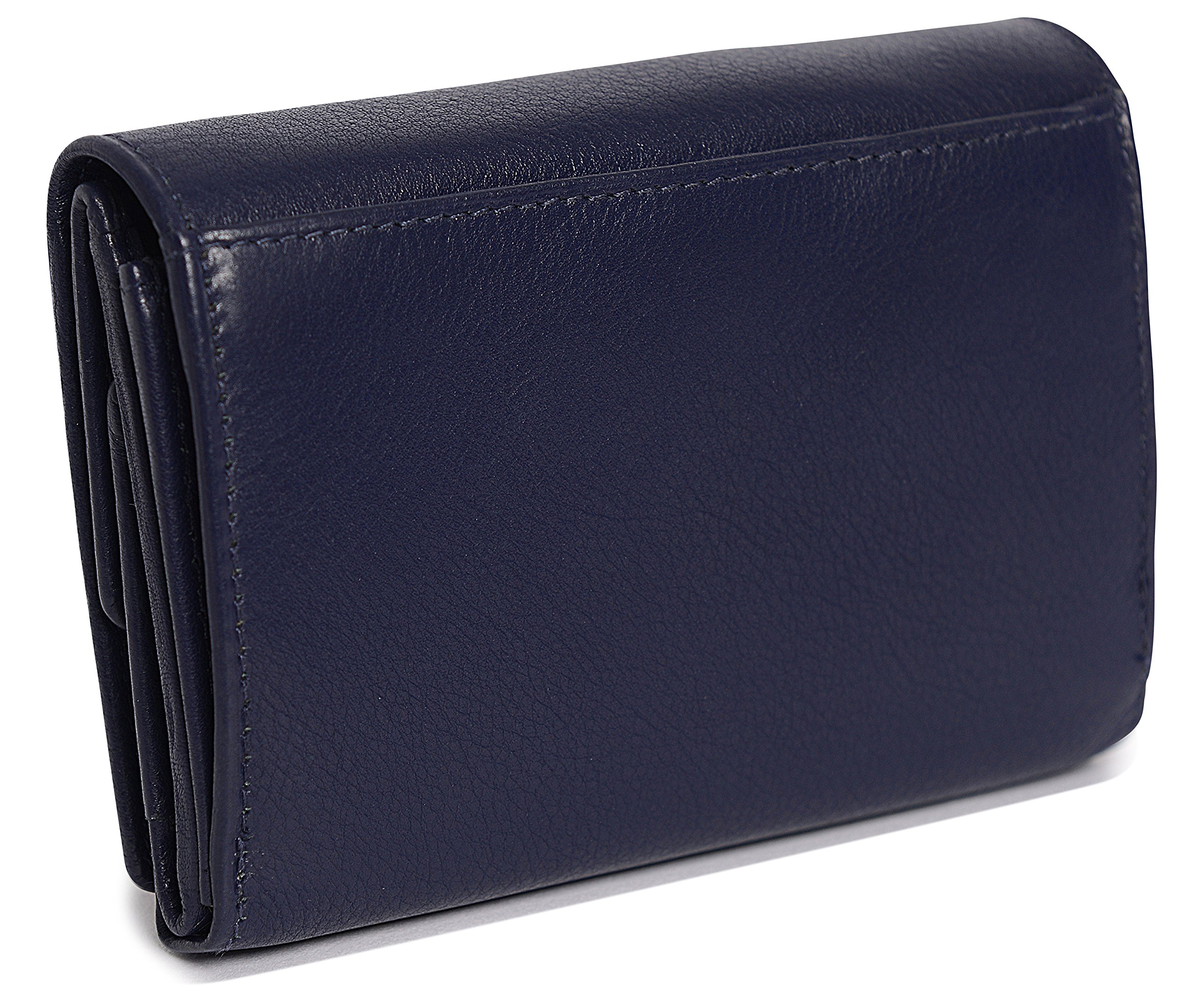 SADDLER Womens Leather Double Flap Coin Purse Trifold Wallet - Peacoat Blue by Saddler (Image #5)