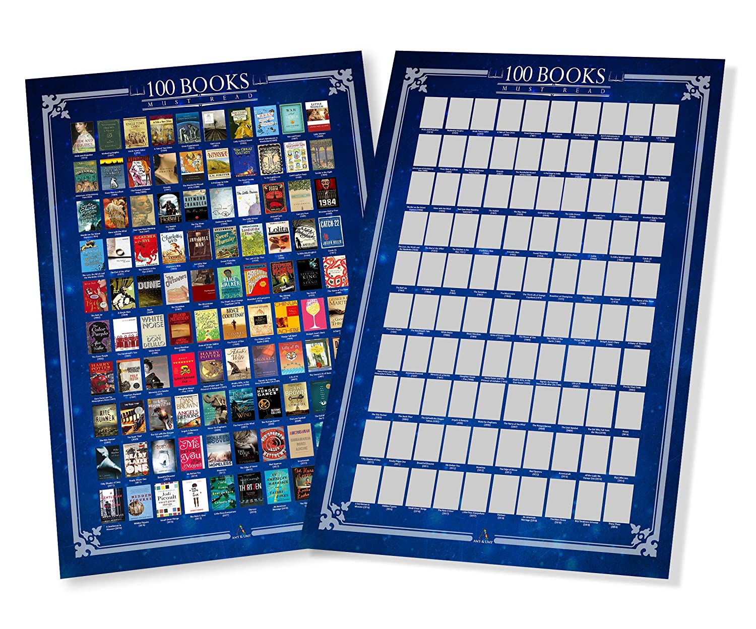 All-Time Favorite Book Poster Amy and Umy Scratch Off Books Poster 100 Must Read of All Time Bucket List Large 16.5 x 23.4 inches Premium Quality /& Print Wall Decor /& Entertainment Piece