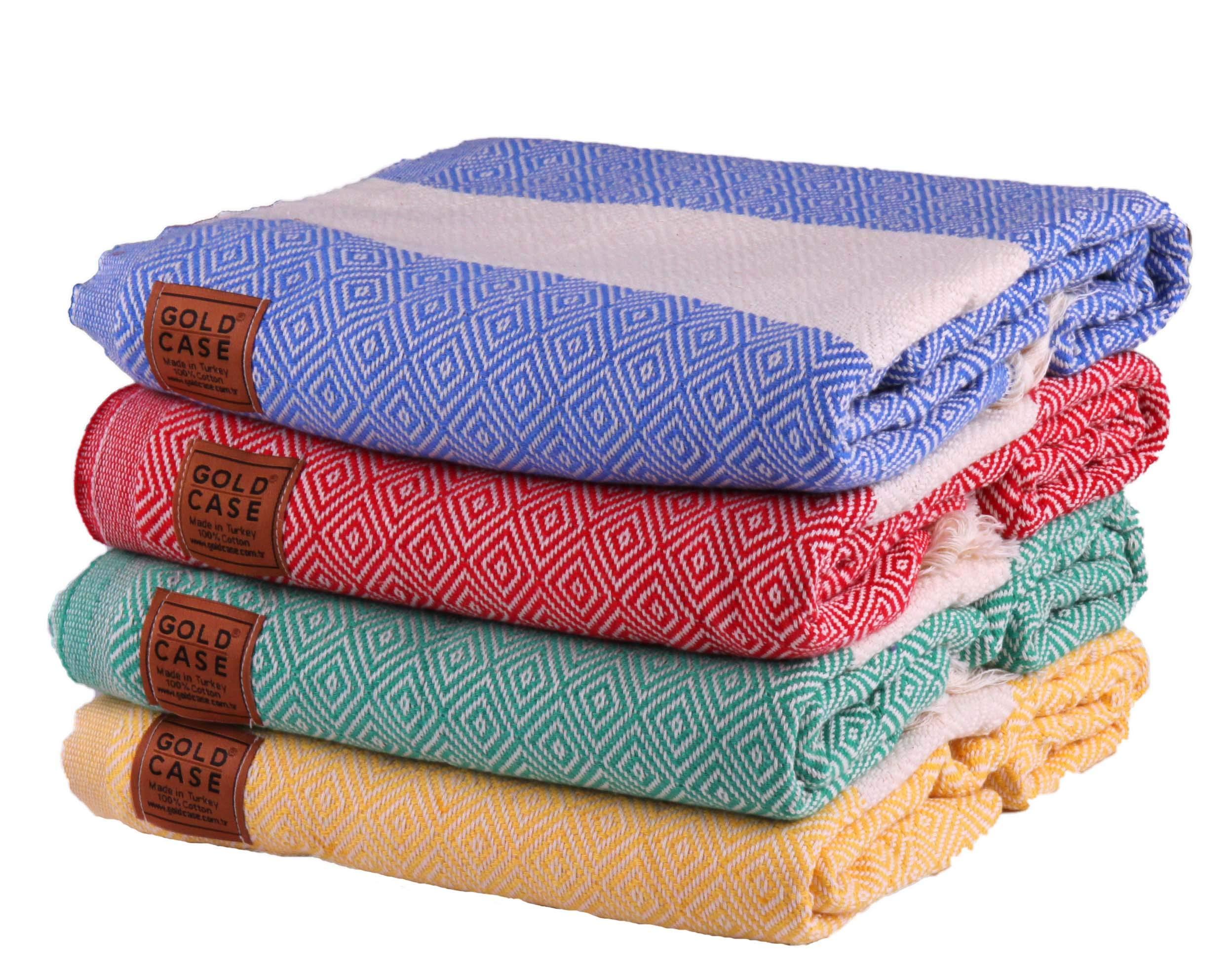 Gold Case Set of 4 XXL and Thick Hermes Turkish Cotton Bath Beach Hammam Towels Peshtemal Towel Throw Blanket (Multi)