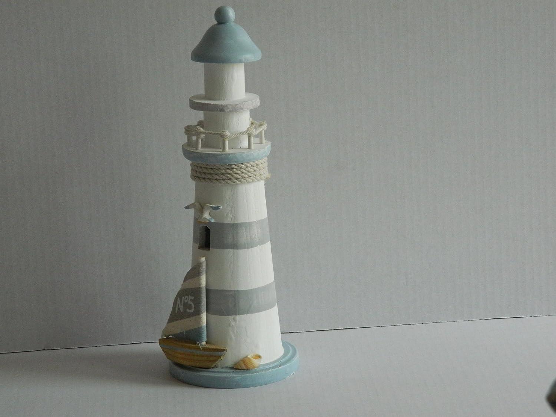 Deko Leuchtturm Holz 30 cm mit Anker weiss hellblau Shabby Chic Dekoration