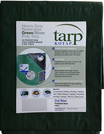 8 x 10 Kotap TUH-0810 Finished Size Ultra Heavy-Duty 8 oz//16-mil Poly Tarp Reversible Silver//White
