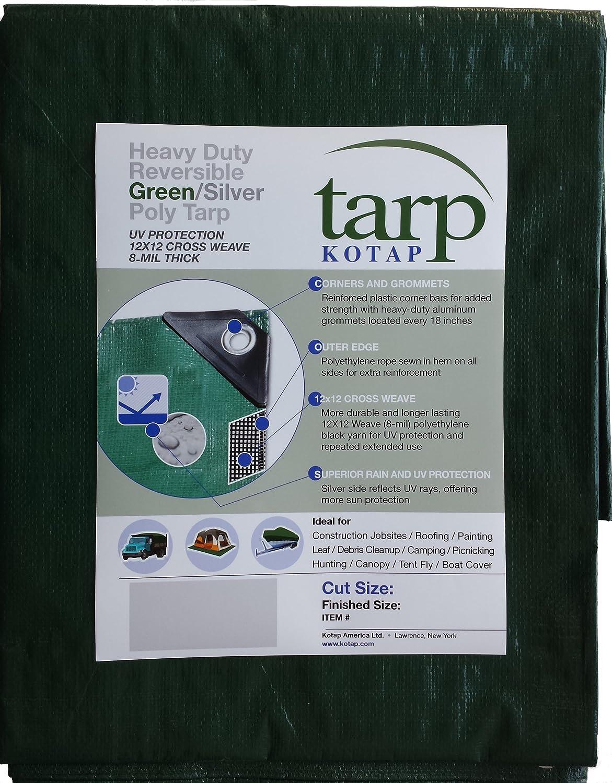 TGS-1214 Item Kotap 12-ft x 14-ft Heavy-Duty 12 by 12 Cross Weave 8-mil Reversible Green//Silver Poly Tarp