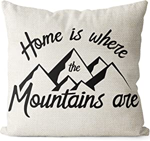 BEDSUM Linen Throw Pillow Cover, Home is Where The Mountains are for Living Room Sofa Couch Square Decorative Bed Pillow Case, 18 × 18 Inches