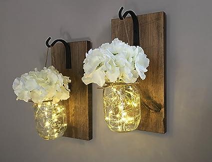 Rustic Hanging Mason Jar Sconces with LED Fairy Lights, Mason Jar Lights,  Wrought Iron