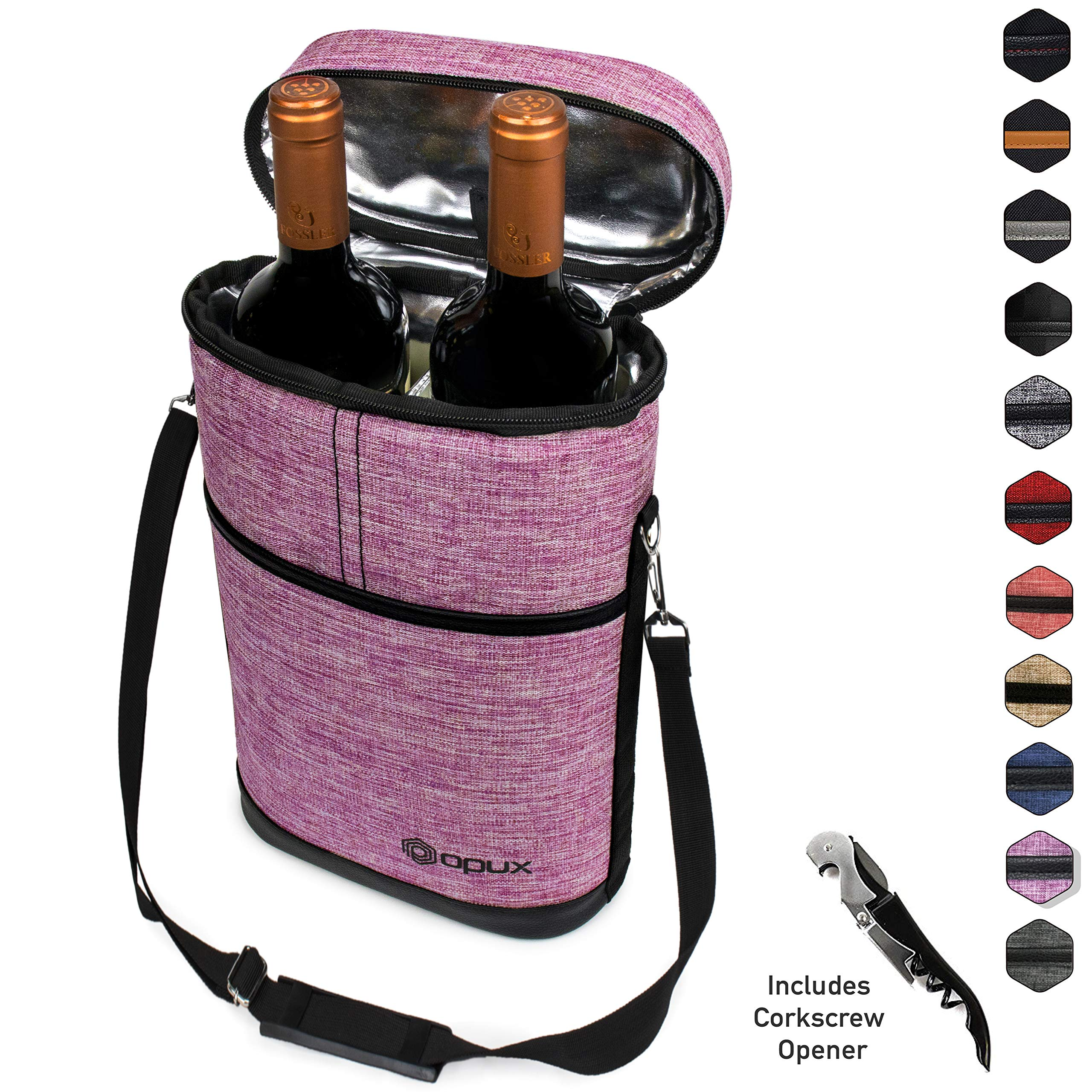 Premium Insulated Wine Carrier Bag by OPUX | Elegant Wine Carrying Tote, Extra Protection, Convenient, Durable Wine Bottle Carrier | Corkscrew Included