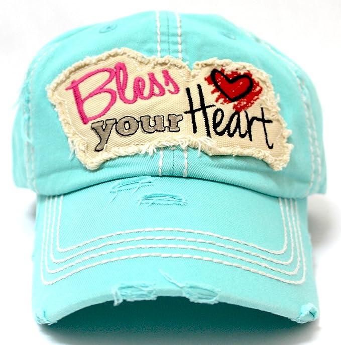 CAPS  N VINTAGE Women s Ballcap Bless Your Heart Patch Hat 4fe3d6a25