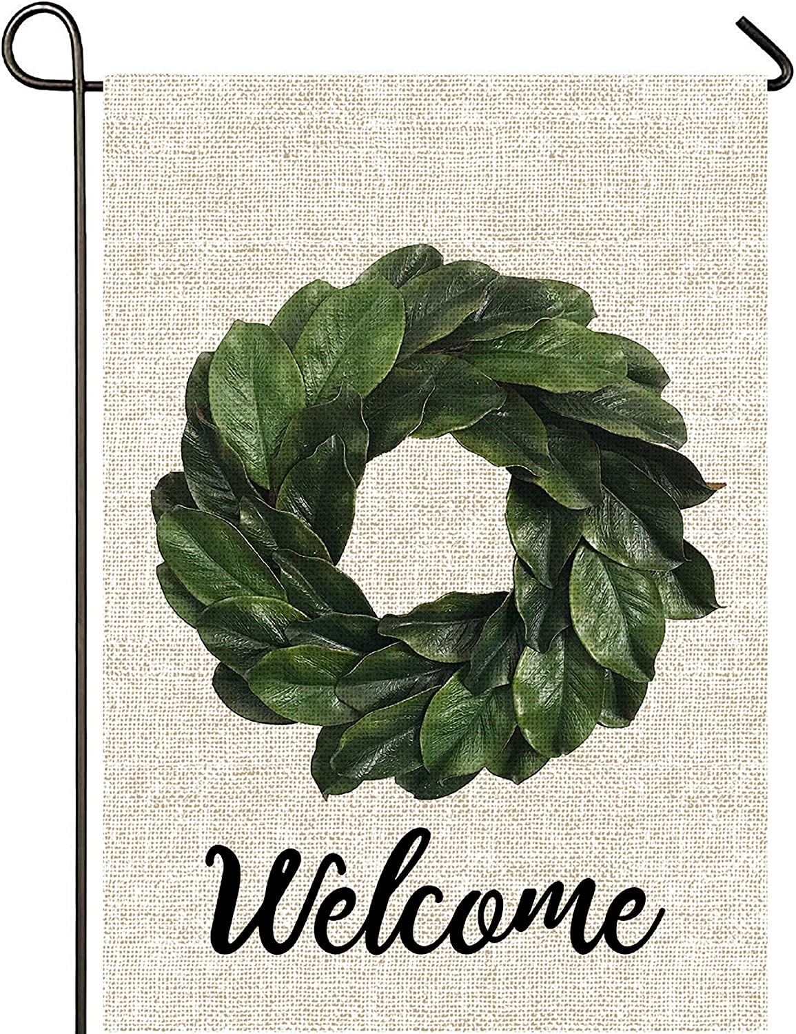 Mogarden Welcome Magnolia Leaves Wreath Garden Flag, Double Sided, 12.5 x 18 Inches, Thick Weatherproof Burlap Summer Yard Flag