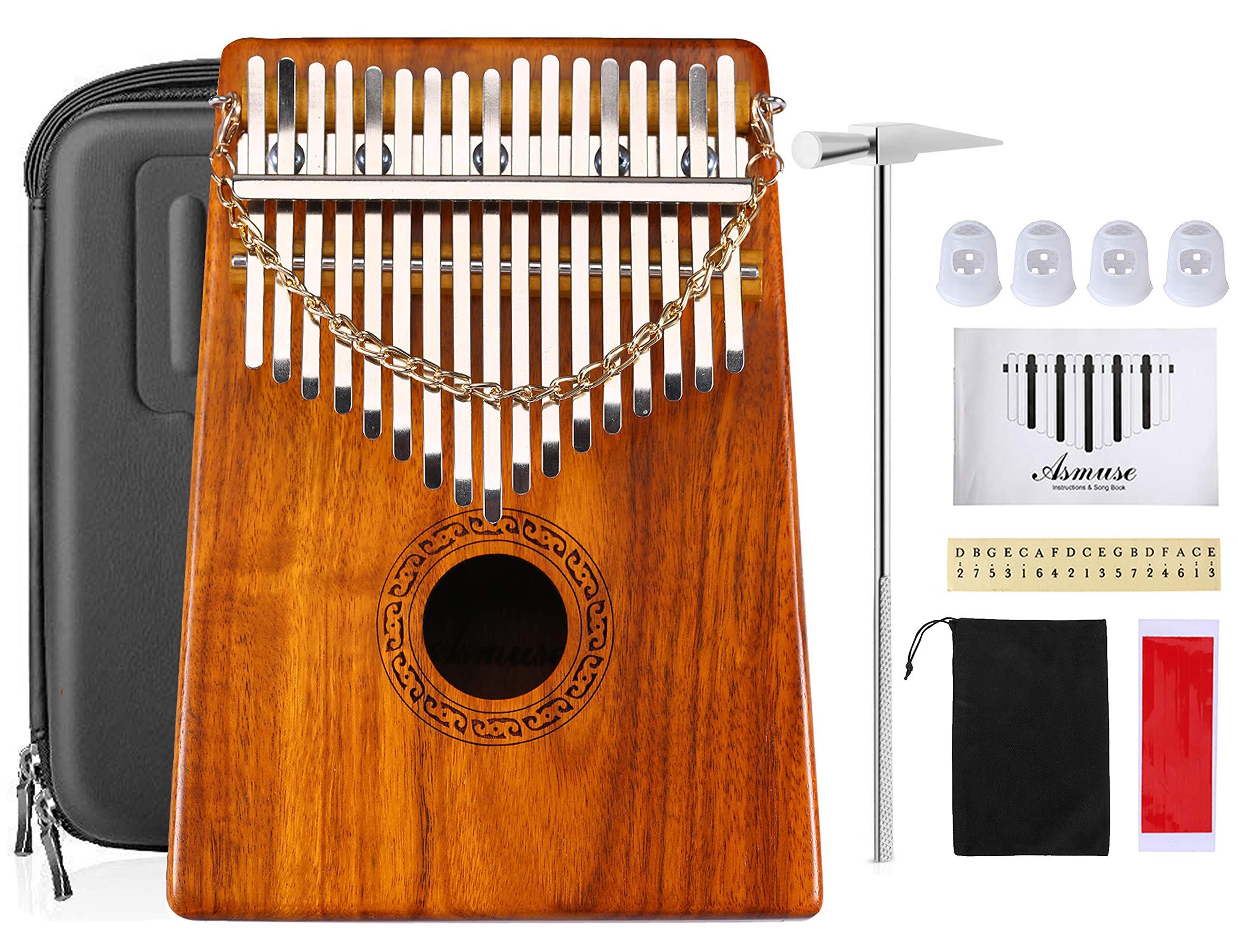 Asmuse Kalimba 17 Keys Acacia KOA Thumb Piano Mbira Sanza Thumb Instrument with 15 Songbook,Tuning Hammer,4 Pcs Finger Thumb Picks and EVA High Protection Box (EVA Case Included) by Asmuse