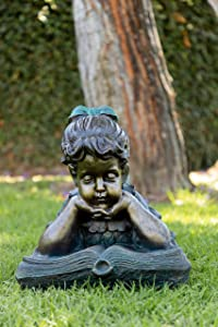 "Alpine 072203 Girl Laying Down Reading Book Statue, 21"" x 14"" x 16"""