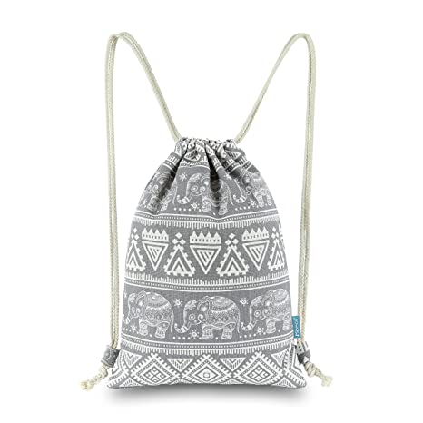 46137121ab Miomao Drawstring Backpack Elephant String Bag Geometric Gym Sackpack  Canvas Sinch Sack Sport Cinch Bag Yoga