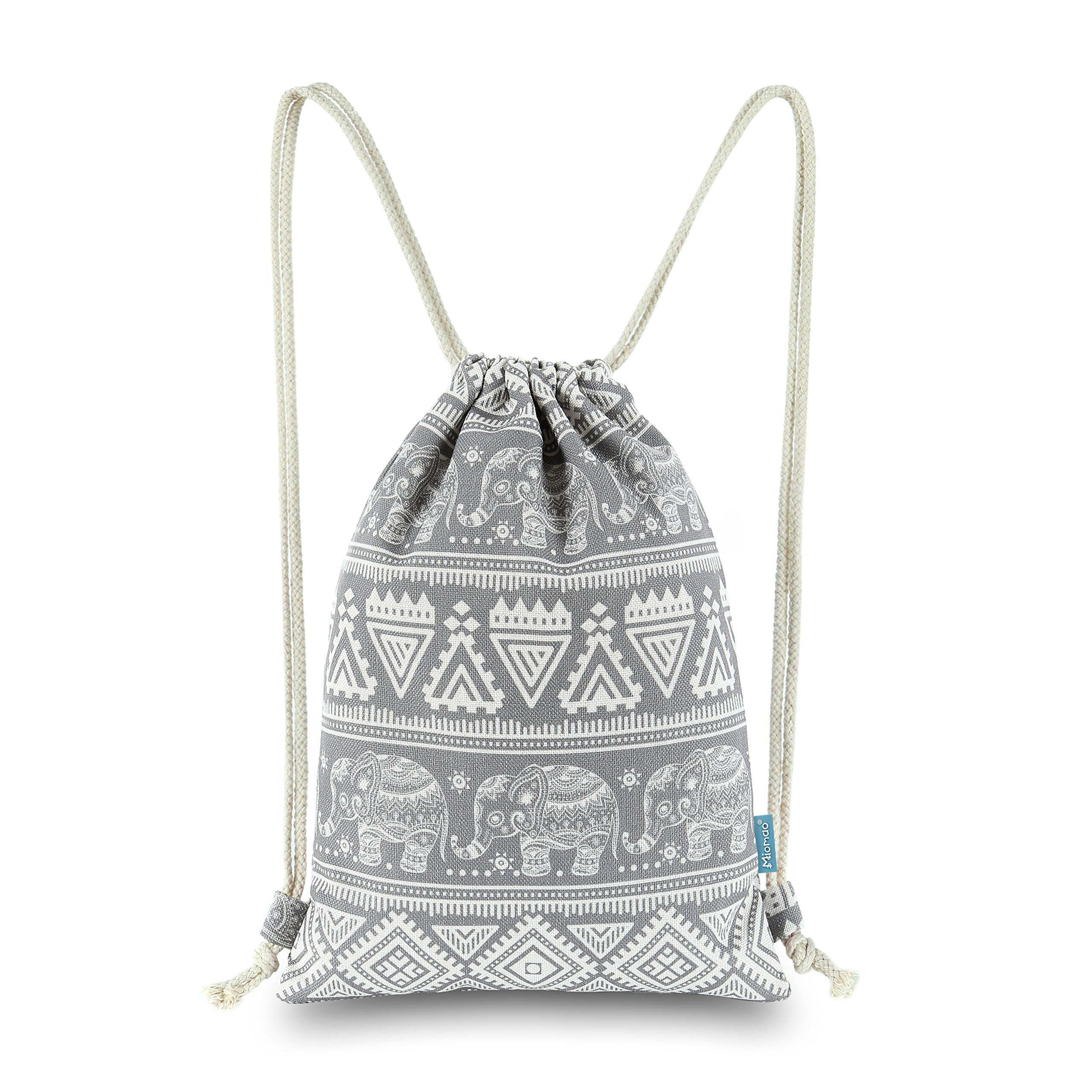 Miomao Drawstring Backpack Elephant String Bag Geometric Gym Sackpack Canvas Sinch Sack Sport Cinch Bag Yoga Daypack Beach Gift Bag For Men & Women 13 X 18 Inches Grey