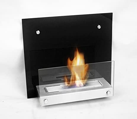 Buy Chic Fireplaces Topeka Luxury Glass Metal Wall Mount Ventless & Uses Eco-Friendly Bio-Ethanol Fuel with Burner Insert