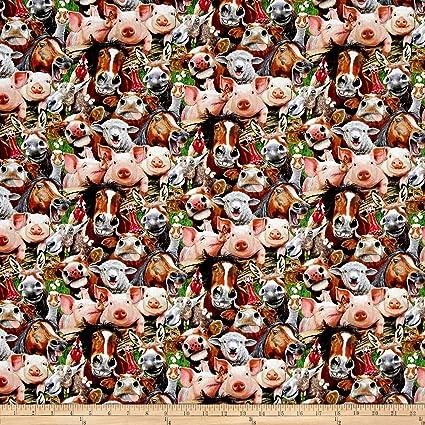 "Elizabeth/'s Studio Farm Animals on Black 100/% cotton Fabric panel 23/"" x 44/"""