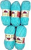 5 x 100 g Himalaya Dolphin Baby 80335 türkis hell, 500 Gramm Wolle zum stricken und häkeln