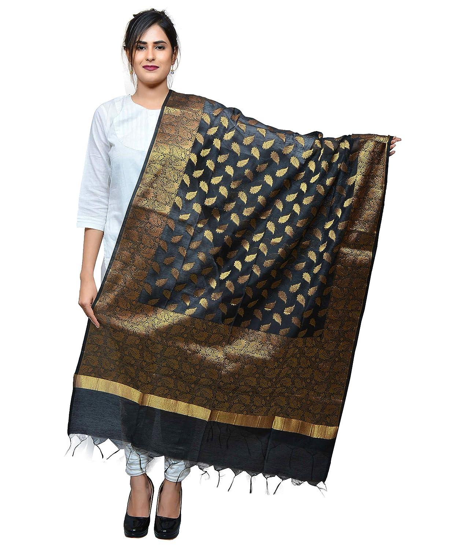 Banjara India Women's Kora Silk Banarasi Dupatta/Chunni [Leaf]