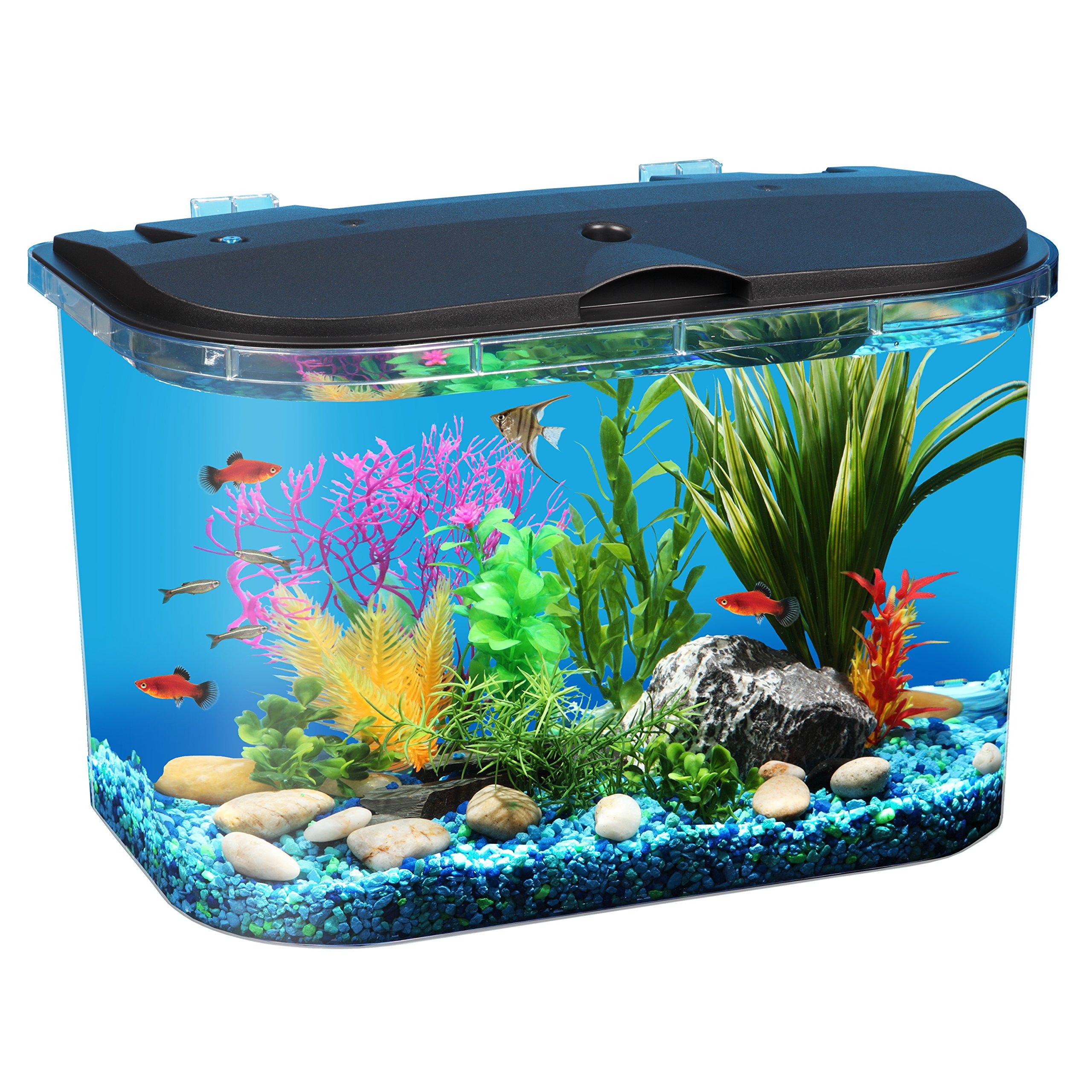 Aquarium Fish Kit Tank Multiple LED Colors and Power Filter 5-Gallon ...