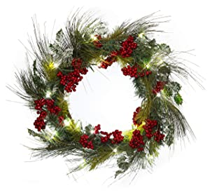 22 Inch Light-Up Christmas Wreath with Pine & Red Cranberries, Battery Operated LED Lights with Timer