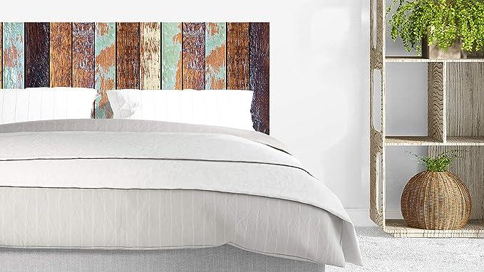 Cabecero Cama PVC Impresión Digital sin Relieve Imitación Colores Antiguos Madera 135 x 60 cm | Disponible en Varias Medidas | Cabecero Ligero, ...