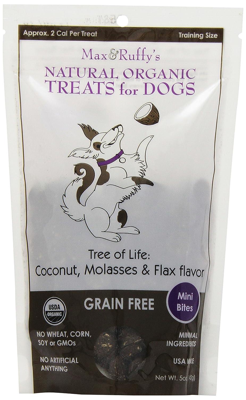 Amazon.com : Árbol de la Vida Orgánica de grano gratuito 5 onzas Dog Treats, Mini Bites, Coco, melaza y lino Sabor : Pet Supplies