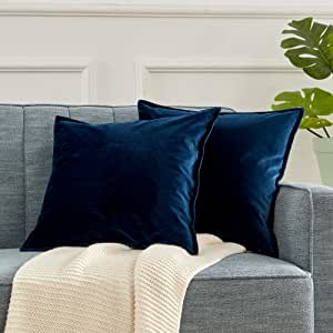 SLEEP ZONE Set of 2 Velvet Throw Pillow Covers Decorative Square Pillowcase Soft Solid Cushion Case for Couch Sofa Bed Chair, 18 x 18 inch, Sapphire Blue