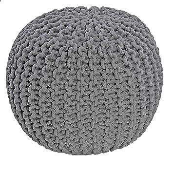 free homescapes pouf tricot gris fonc coton reposepied rembourr des billes pour le with pouf. Black Bedroom Furniture Sets. Home Design Ideas
