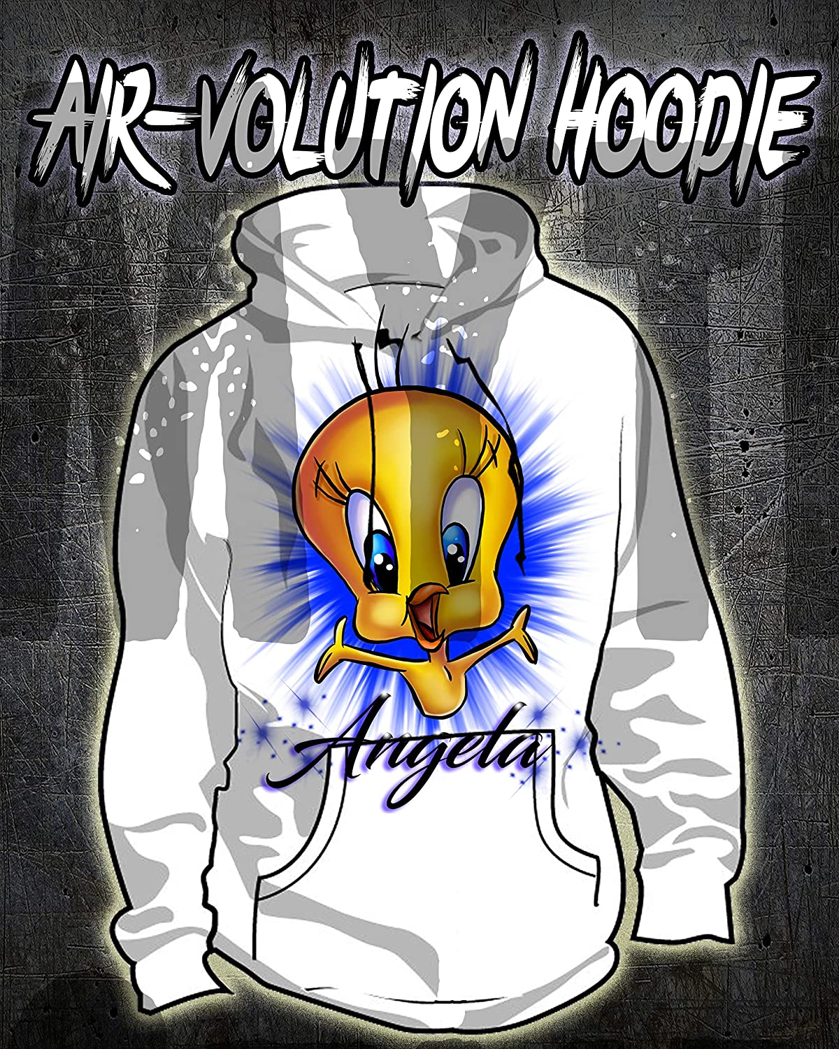 YOUR NAME Airbrushed HOODED SWEATSHIRT Custom Personalized All Sizes Up to 5X