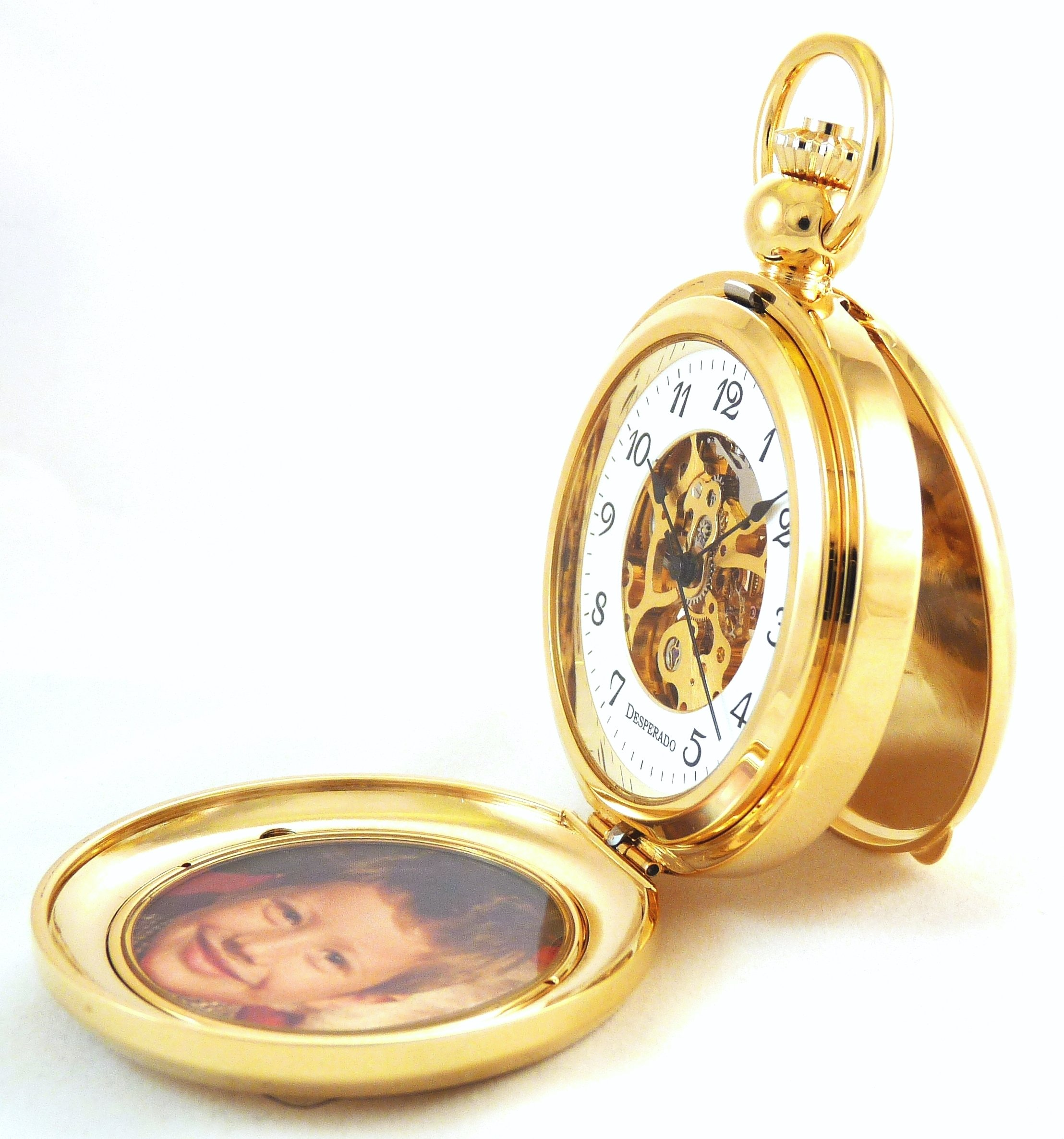 Desperado ''Seaside'' Gold Photo Insert Picture Frame Pocket Watch Built in Stand