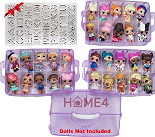 HOME4 BPA Free Stackable Storage Container, Organizer Carrying Display Case, 3 Layers 30 Adjustable Compartments, Perfect for Small Toys, Dolls Not Included, Bonus Sticker (Pink Glitter Small)