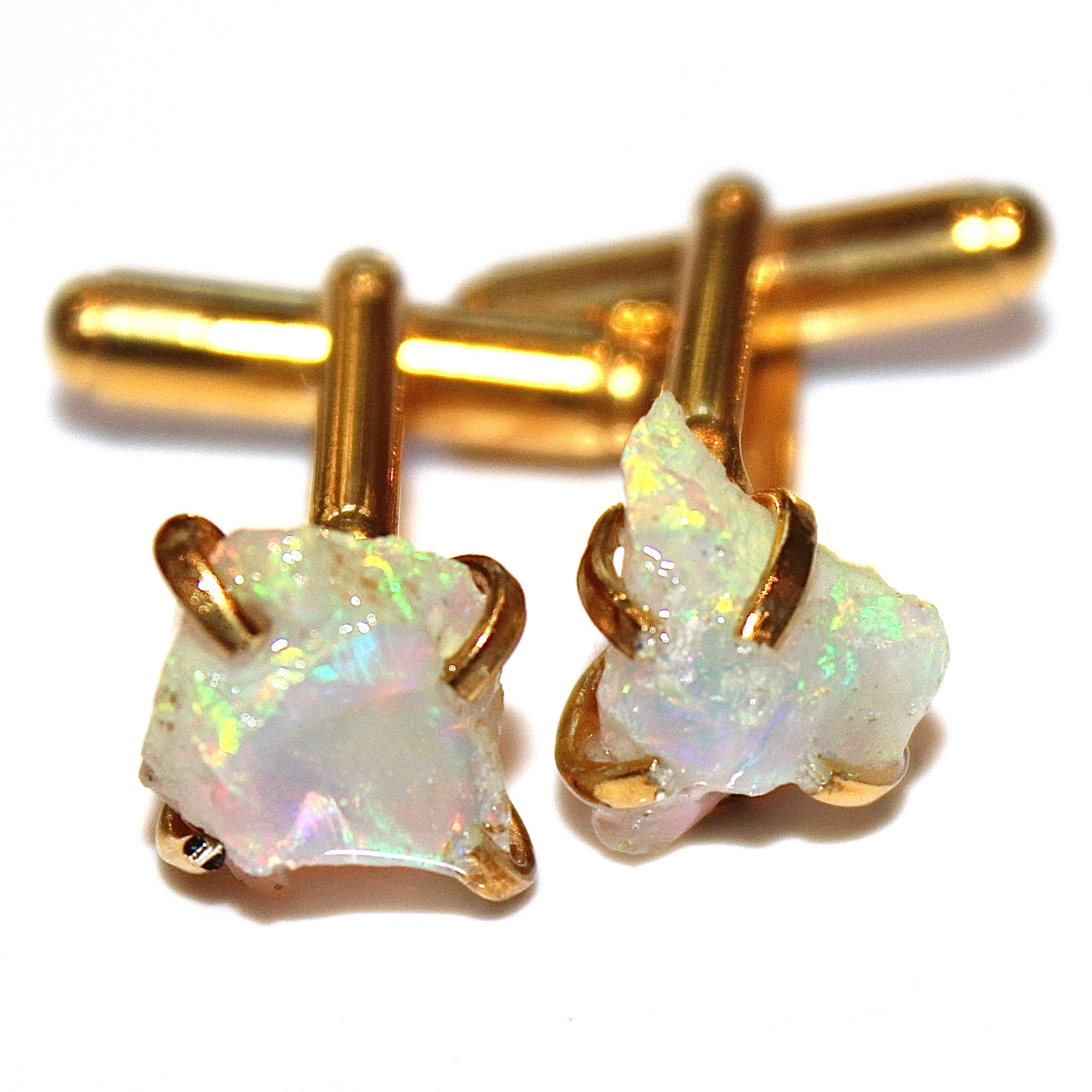 Raw Opal Cuff Link in Gold Vermeil by FizzCandy Jewelry