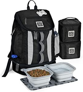 Mobile Dog Gear, Dog Travel Bag, Drop Bottom Week Away Backpack for Medium and Large Dogs, Includes 2 Lined Food Carriers and 2 Collapsible Dog Bowls