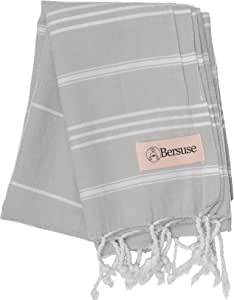 Bersuse 100% Cotton - Anatolia Hand Turkish Towel - Head Hair Face Baby Care Kitchen - 22X35 Inches, Silver Grey