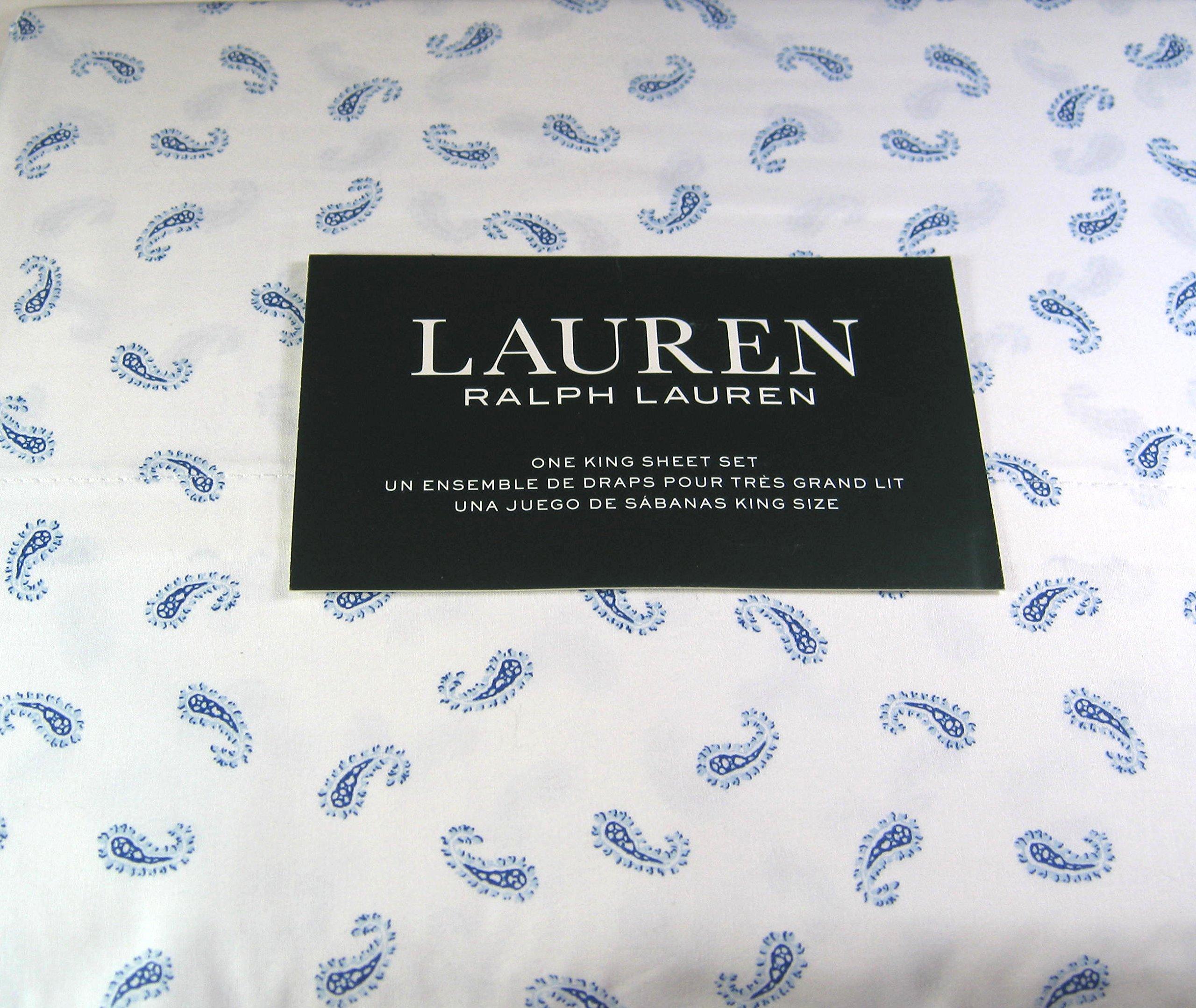 Lauren 4 Pc.King Size Paisley Print Sheet Set Blue and White 100% Cotton