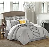 Chic Home 8-Piece Ruth Ruffled Comforter Set, King, Silver
