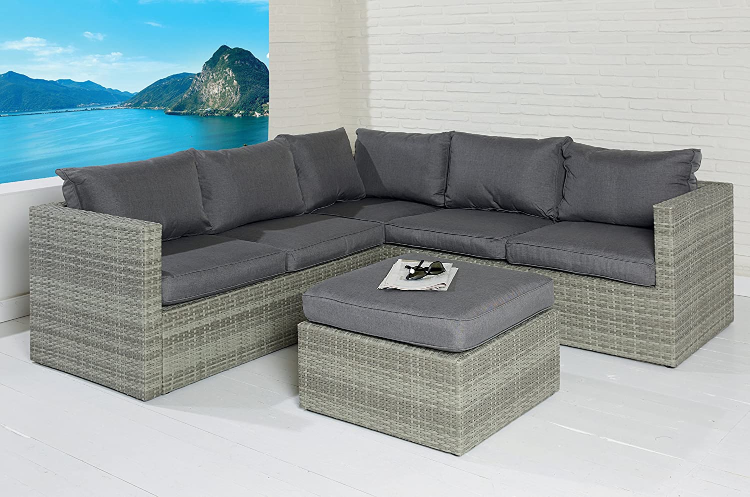 poly rattan sitzgruppe sofa lounge set grau gartenm bel. Black Bedroom Furniture Sets. Home Design Ideas