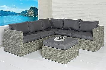 Gartenmöbel sitzgruppe rattan lounge  POLY RATTAN Sitzgruppe Sofa Lounge Set grau Gartenmöbel Terrassen ...