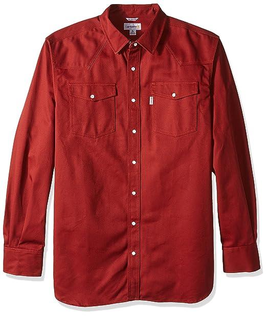 1b58c5e1bb Carhartt Men s Big   Tall Ironwood Twill Work Shirt Snap Front Relaxed Fit