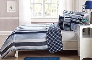 Elegant Home Multicolor Navy Light Blue White Elegant Striped Stripes Design Printed Reversible Colorful 4 Piece Quilt Bedspread Bedding Set with Decorative Pillow for Kids / Boys (Full)