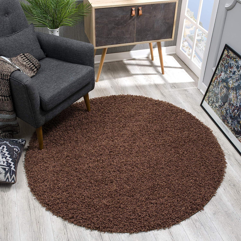 SANAT - Alfombra Redonda (Polipropileno, 120 cm), Color marrón Oscuro