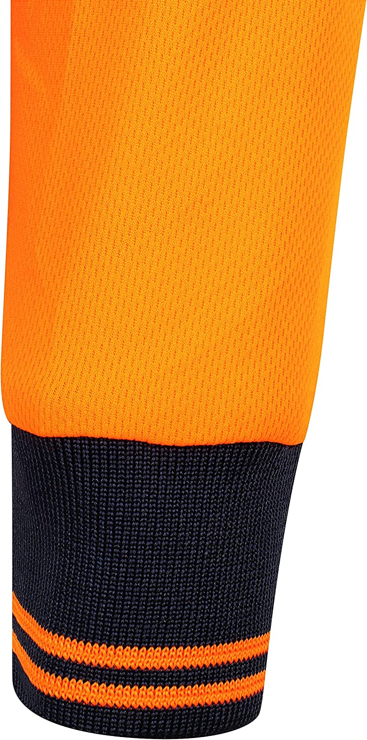 HuntaDeal Hi Viz VIS High Visibility 2 Tone Long Sleeve Polo Shirt Reflective Tape Safety Security Work Button Breathable Lightweight Double Tape Workwear Top Plus Big Size EN ISO 20471